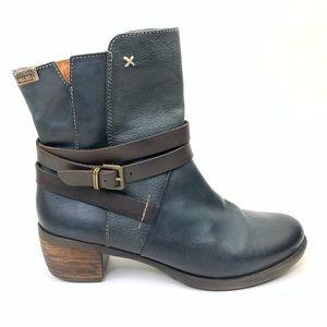 Pikolinos leather booties indigo blue Sz 39 US 9